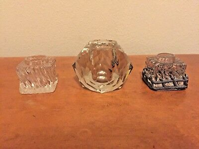 3 vtg antique glass swirl & cut crystal inkwells - cast metal fence base