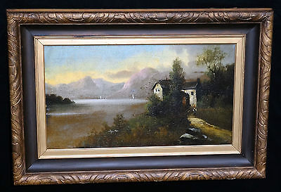 "19CT SWISS/ITALIAN OIL PAINTING "" VILLA on a LAKE w. BOATS & MOUNTAINS"" unsign"