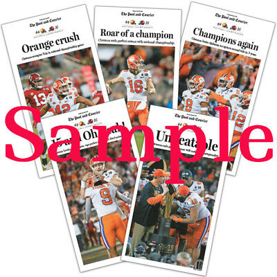CLEMSON 2019 NATIONAL CHAMPIONS The Post and Courier Newspaper posters pack