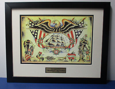 SAILOR JERRY & Brooklyn JOE LIEBER Flash16x20 Custom Frame set      machine rum