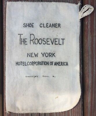"Vintage Roosevelt New York Hotel Corporation Of America Cloth Shoe Cleaner 7""x5"""