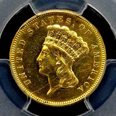 PCGS AU-50. 1878 $3 Rare Gold United States Coin. Stunning Indian Princess