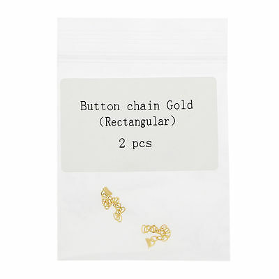 Dental Orthodontic Golden Gold Plated Traction Button Chain Rectangular 2 Pcs
