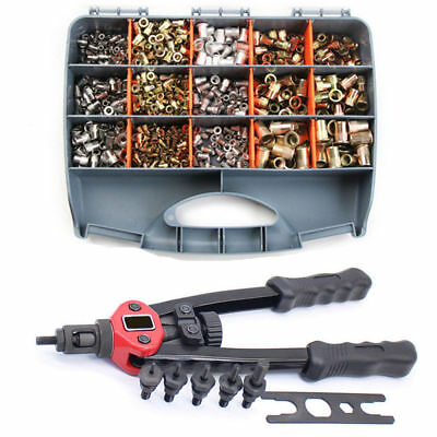 900pcs Riveter Gun Stainless Steel Rivet Nuts Insert Tools Mandrel Kit M3-M10