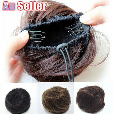 Women Clip Wig Scrunchie Brown On Extension Bun Hair Donut Black Piece