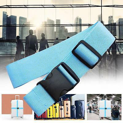 1x Adjustable Suitcase Luggage Straps Travel Baggage Tie Down Belt Lock Blue ZH