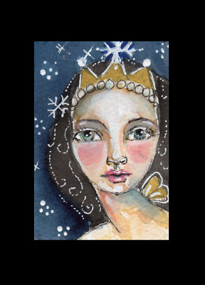 ACEO Winter Frost Fairy Snowflakes Whimsical Original Watercolor art