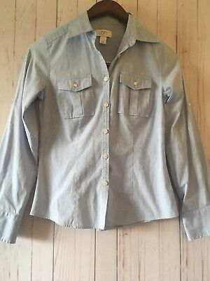 852a20273 Ann Taylor Loft Women's Light Blue Long Sleeve Button front Blouse Sz 0