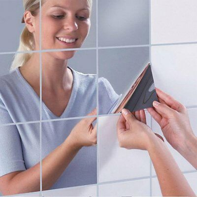 3D Mirror Square Vinyl Removable Wall Sticker Decal Home Decor Art DIY 16Pcs