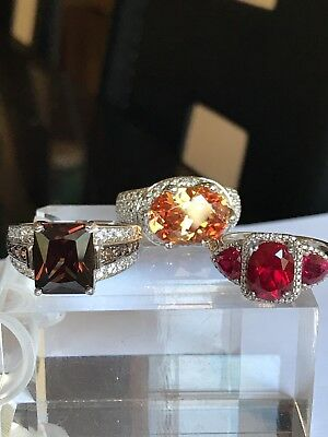 Set Of 3 CZ In Silver  Rings ( New)