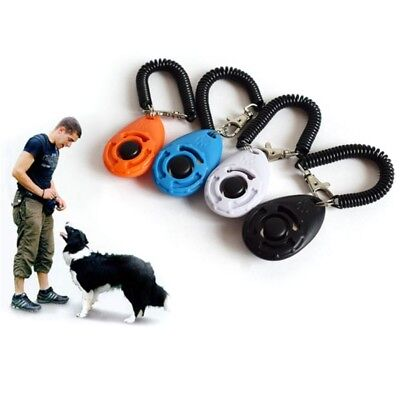 4pcs Pet Dog Cat Button Click Clicker Trainer Training Obedience Aid Wrist Strap