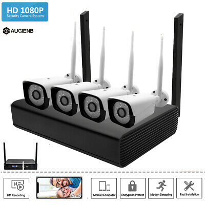 AUGIENB 4CH Wireless HD 1080P NVR Outdoor IR IP WIFI Camera CCTV Security System