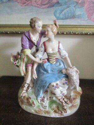 """Antique Made In  France Victorian Couple With Dog Porcelain Figurine 8.5"""""""