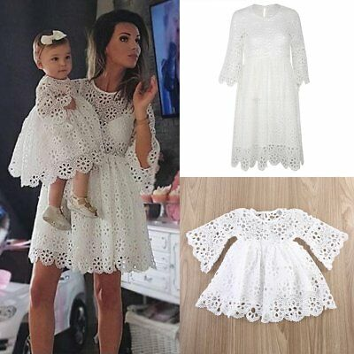 Family Matching Clothes Women Kids Girls Lace Wedding Party Prom Dress Baby