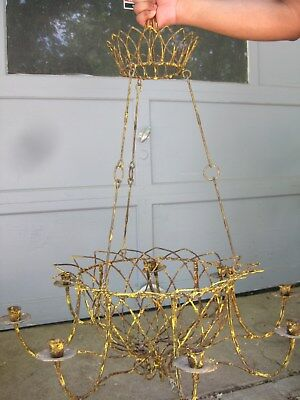 Vintage Wire basket hanging chandelier