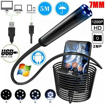 5M 6 LED 7mm HD Waterproof Android Endoscope Borescope Snake Inspection Camera