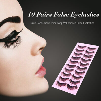 10 Pairs Hand-made Magnétique Faux Cils 3D Naturel Extension Eyelashes Cils