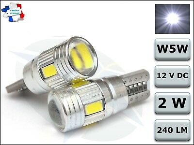 2 Veilleuses LED W5W T10 Canbus ANTI ERREUR ODB 6000K Blanc PUR XENON 6 SMD voit
