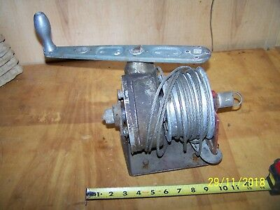 Vintage Hand Crank Worm Gear Cable Winch
