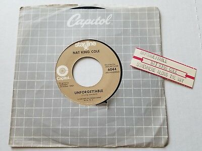 """Nat King Cole - Inolvidable/Somewhere Along The Way 594ms Pop Vocal 7"""" Rei"""