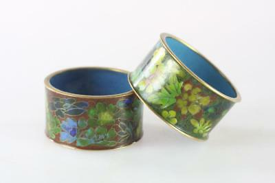 Vintage Chinese Set Of Two Cloisonne Napkin Rings