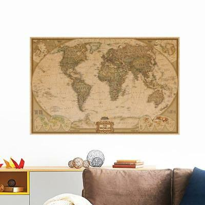 World Map Antique Vintage Style  Globe Old World Map 72x48cm Home Office School