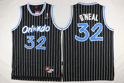 watch 823db 6aaf2 2019 SHAQUILLE O'NEAL #32 Orlando Magic Black White Striped Throwback Jersey