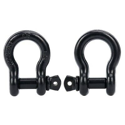 """2Black 3/4"""" D-ring Shackle Galvanized JEEP OFF ROAD Towing Chain Bow Buckle 4.5T"""