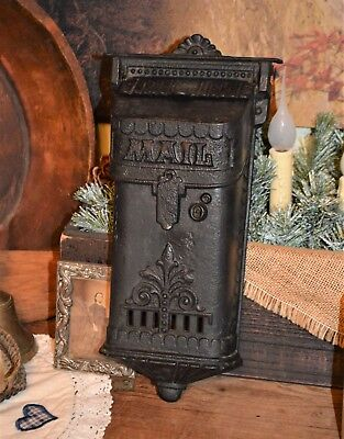 Atq Victorian Cast Iron Mailbox 2 Door & Fancy Design Sam'l Tatum Co 1880-90's