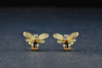 925 Silver Citrine Gemstone Queen of Bee Animal Ear Studs Earrings Wholesale