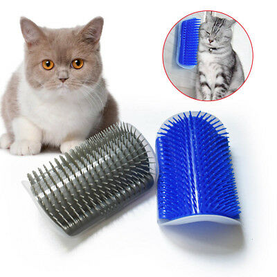 Cat Self Groomer Brush Wall Corner Grooming Massage Tickling Comb Catnip Rubs