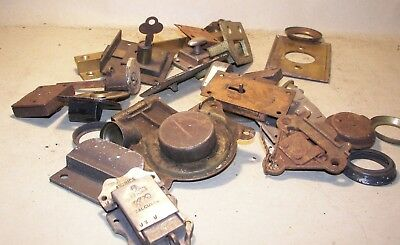 Antique MIXED Lot Industrial Steampunk locks latches brackets etc 3 LBS lot #H2