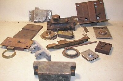 Antique MIXED Lot Industrial Steampunk locks latches brackets etc 3 LBS lot #H13