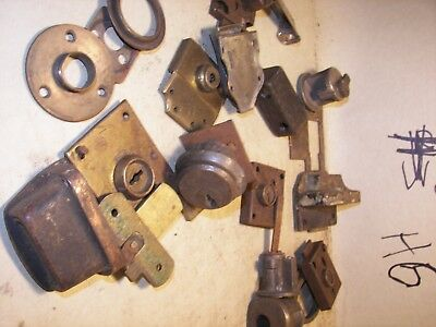 Antique MIXED Lot Industrial Steampunk locks latches brackets etc 3 LBS lot #H6