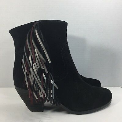 e15cd74e3 Sam Edelman Louie 2 Fringe Suede Ankle Bootie Block Heel Black Women Sz 6.5  New