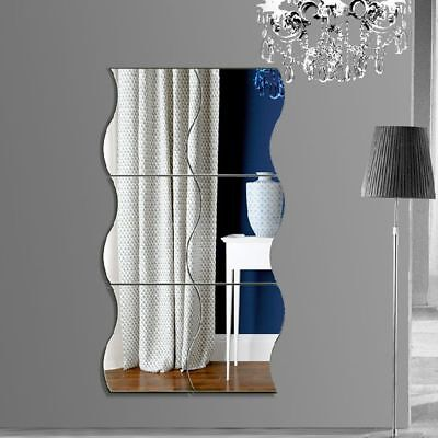 6Pcs Removable Acrylic 3D Art Mural Decals Mirror Wall Sticker Wave Home Decor