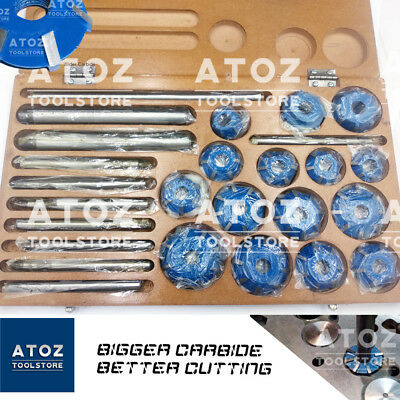 7x Set Carbide Tipped Valve Seat Face 3 Cutters 45 70 Degree 2 ANGLE CUT PILOT