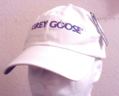 Grey Goose Vodka White Embroidered Hat Cap, Ahead Spec Edition, Adjustable, NEW