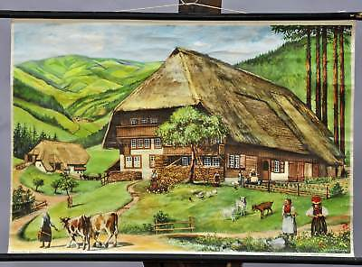 rollable vintage wall chart Black forest farmhouse countryside living style