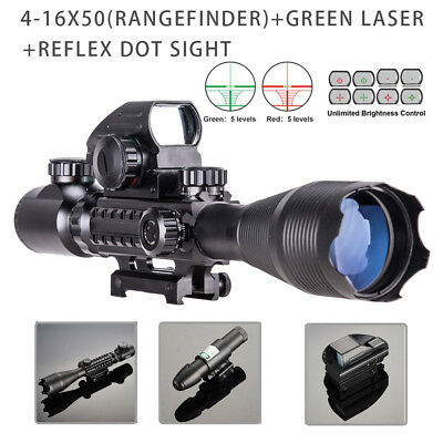 4-16x50 Rangefinder Illuminated Rifle Scope W. Green Laser & Red Green Dot Sight