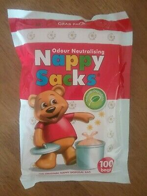 1 x Nappy Sacks Grab Pack of 100 Odour Neutralising Nappy Disposal Degradable