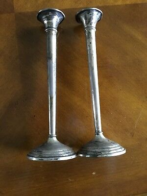 "Pair Of Sterling Silver Cement Filled 7.5"" Trumpet Bud Vases"