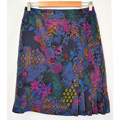 Vintage Handmade Colourful Floral Print Skirt Size Small 8 - 10