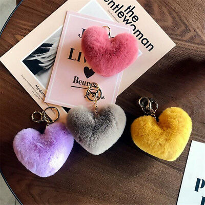 Cute HeaRt Shape Furry Ball Key-chain Bag Wallet Decor Ornament for Girls New