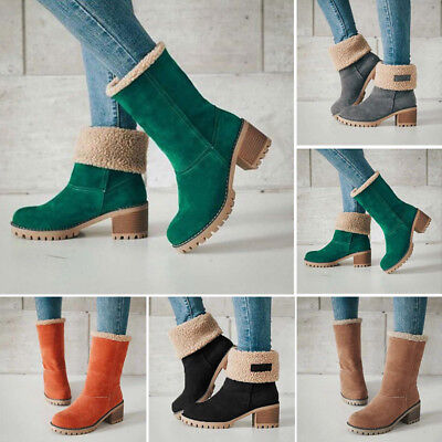 Winter Women's Suede Low Heel Snow Martin Flap Boots Thicken Ankle Shoes Comfort