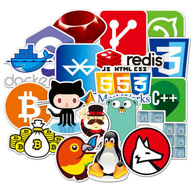 72Pcs Developer Programming Sticker Java JS Php Internet Bitcoin Html For Laptop