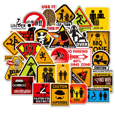 50PCS Warning Stickers Danger Waterproof Decal Sticker to DIY Luggage Laptop