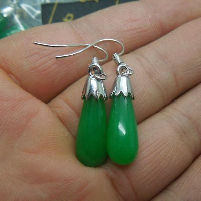 A Pair Teardrop Green Jade 925 Silver Dangle Hook Earrings