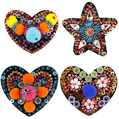 4pc Handmade Heart Star Patches Rhinestone Beaded Sew on Sequin Crystal Craft