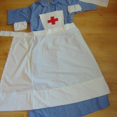 Ww2 Ww1 Red Cross Vad Nurse Apron Cuffs And Head Scarf Veil With Sewn On Cross